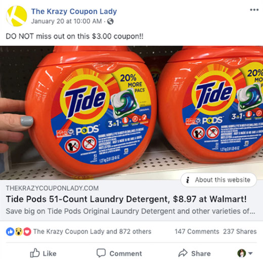 Krazy Coupon Lady ad for Tide PODS