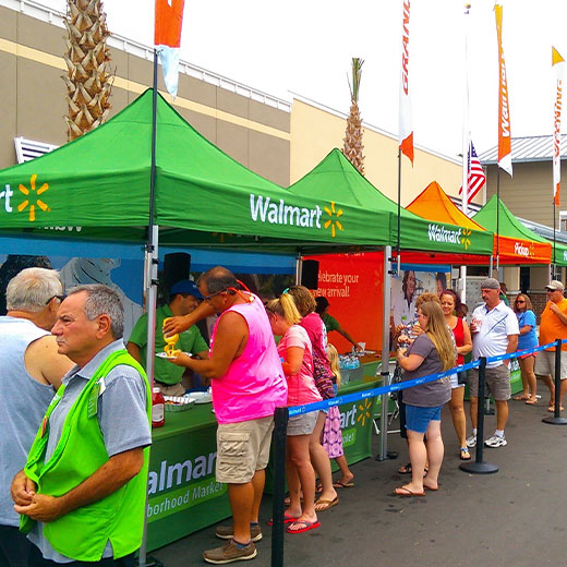vendor booths at Walmart grand opening