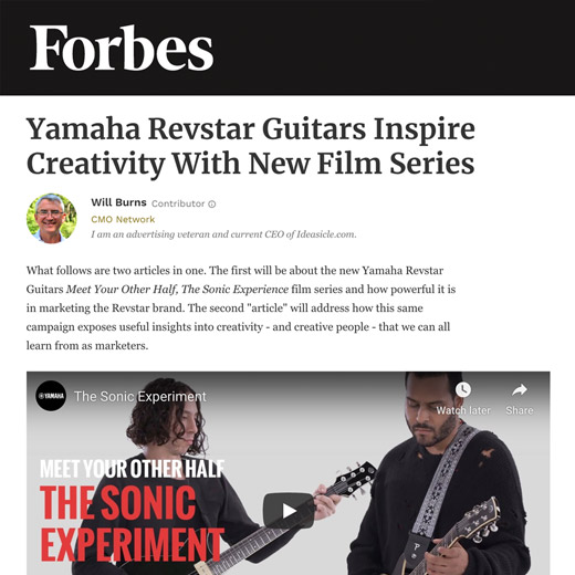 Forbes article on Yamaha Revstar guitars