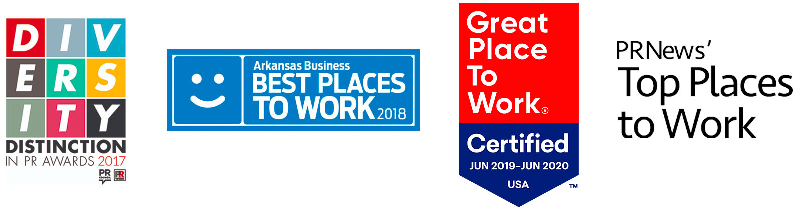 Awards logos – Diversity Distinction in PR, Arkansas Best Places to Work, Certified Great Place to Work, PRNews' Top Places to Work