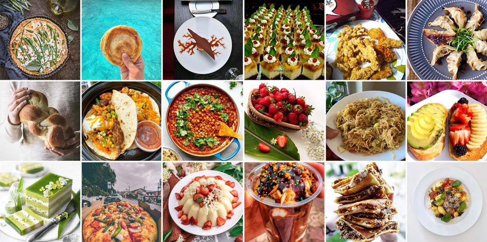 Grid of food photos from Instagram.