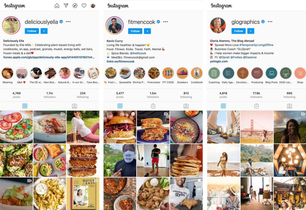 Instagram feeds from three different travel / food / fitness influencers.